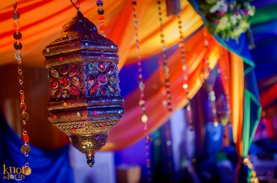 Antique Moroccan style lamp with embellishments and strings for the Casino themed party