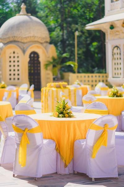 Yellow decor for pooja and haldi ceremony at Chunda palace, Udaipur.
