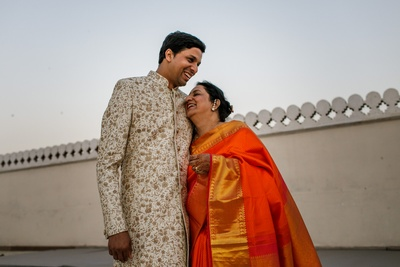 The groom with his mother