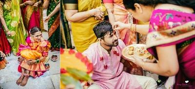 The couple's haldi ceremony