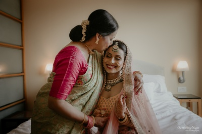 An emotional moment between the bride and her mother