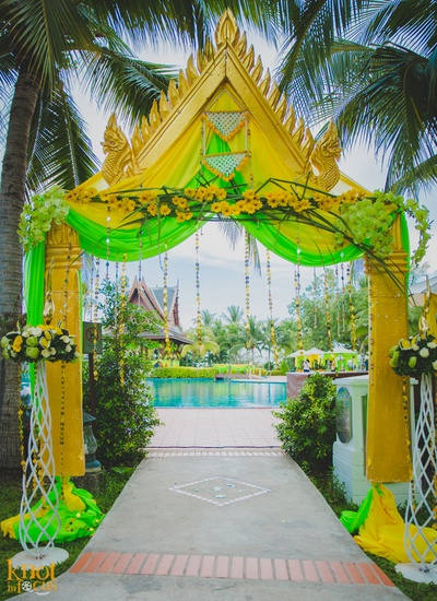 Sofitel, Krabi decorated in hues of yellow and green for the couple's pre wedding functions