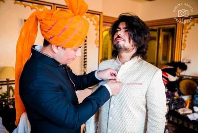 Rohan getting ready for his wedding ceremony held at Chunda palace.