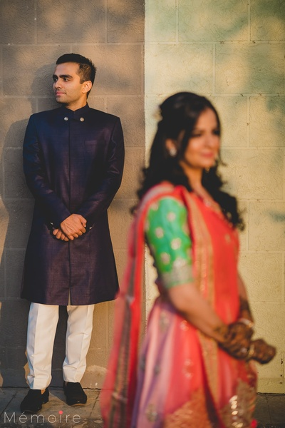 Bride and groom at their mehendi ceremony.