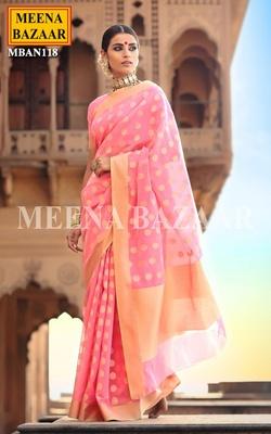 Meena Bazaar Blush Pink Handwoven Saree