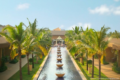 Wedding venue decorated with lush green avenues and a waterfall along the walkway with palm trees
