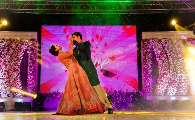 Couple's dance performance for their sangeet ceremony.