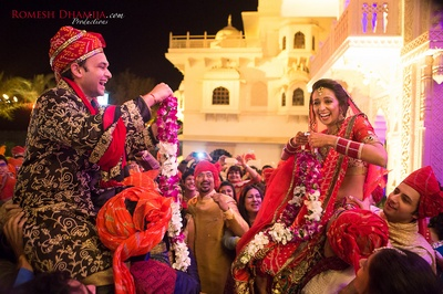 Nanki and Ishaan's fun filled varmala ceremony held at Shiv Vilas Palace, Jaipur.
