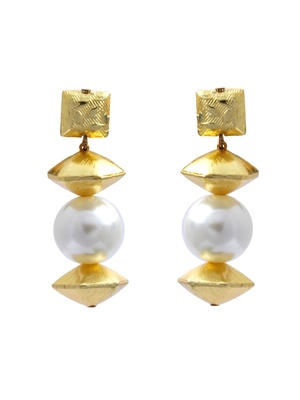 Gold and Pearl Classic Earrings