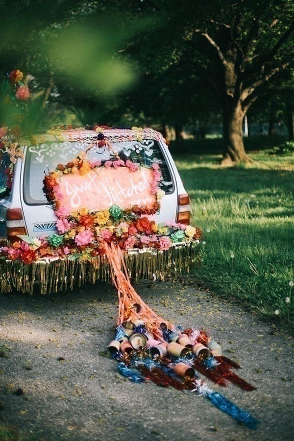 Tying tiny plastic bottles, cans or shoes to the rear of the wedding car