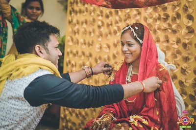 haldi bring applied to the bride