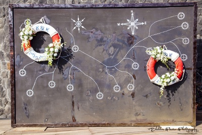 Sea route and compass with life savers, innovative idea for outdoor decor