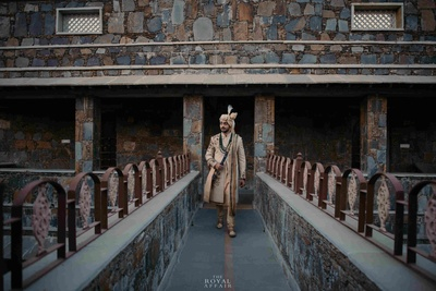 The royal groom in his traditional attire at Amargarh fort.