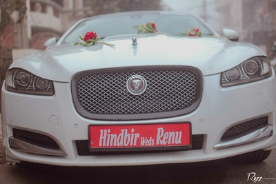 Groom all set to take his lovely bride in this beast!