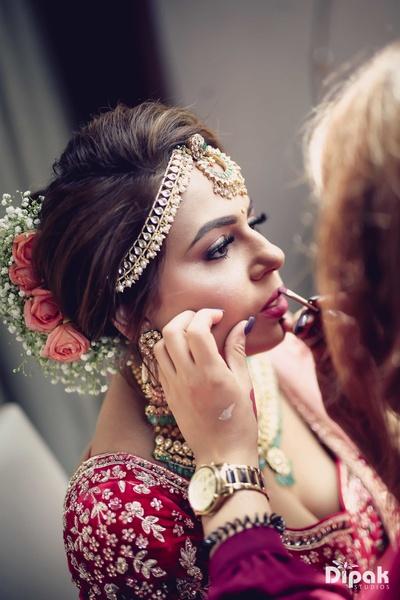 Bride getting ready for the wedding function at Sahara Star, Mumbai