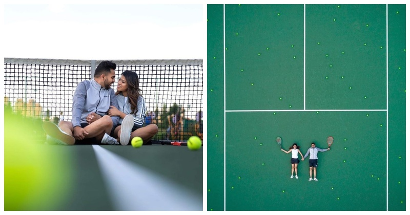 A Cutesy Tennis Court Pre-Wedding Shoot of a Gorgeous Couple in NYC