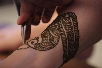 Indian mehendi design in progress