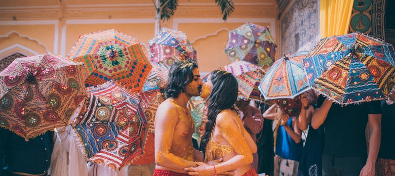 Boho-Kitsch Destination Wedding held at Samode Palace, Jaipur!
