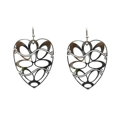 LeCalla Laser Cut Heart Rhodium Dangler Earrings