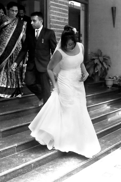 Snow white flared half sleeved wedding dress