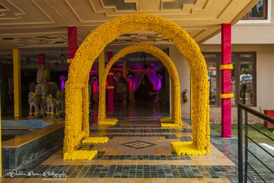 Marigold decoration at the entrance