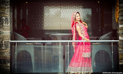 Traditional red bridal lehenga for the wedding ceremony