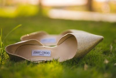Jimmy Choo gold bridal heels.
