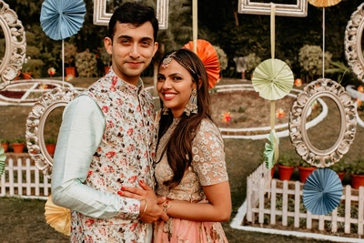 Pragya and Harsh looked so cute together wearing complementing floral outfits.