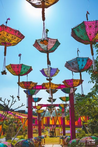 8 cool ways to use umbrellas as decor at your indian wedding blog scatter a bunch of upturned umbrellas in a pool if you have one at the wedding venue you can decorate it with flowers or any other suitable item junglespirit Image collections