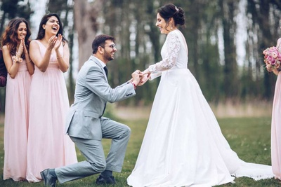 Ring exchange between the bride and groom
