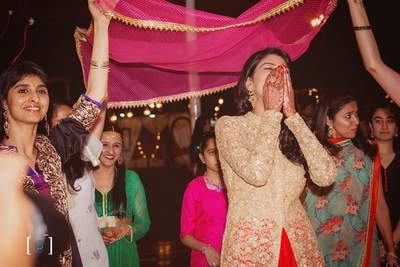 Bridal entry for the sangeet ceremony.