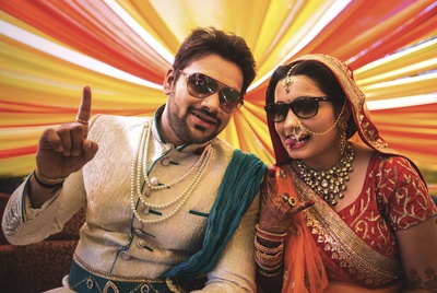 White textured Sherwani styled embellished waist belt and a crush dupatta