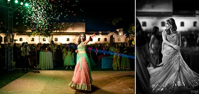 Peach and aqua sangeet lehenga for an outdoor sangeet ceremony held at Samode Palace, Jaipur