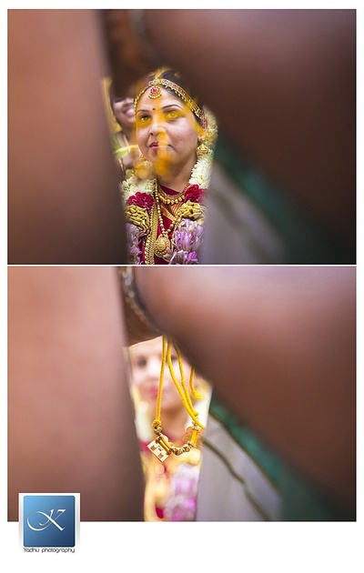 Yellow thread mangalsutra with gold pendants