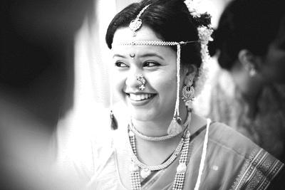 Traditionally dressed in Maharashtrian style