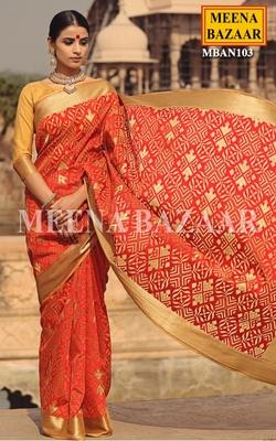 Meena Bazaar Red and Golden Handwoven Saree