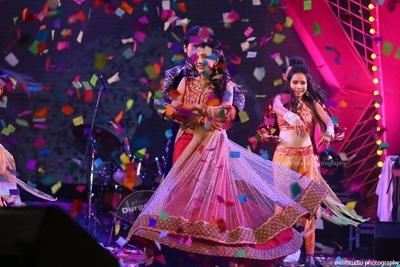 Layered Anarkali lehenga with sheer embellished jacket