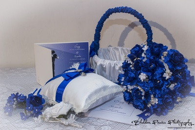 White and Royal blue themed wedding essentials