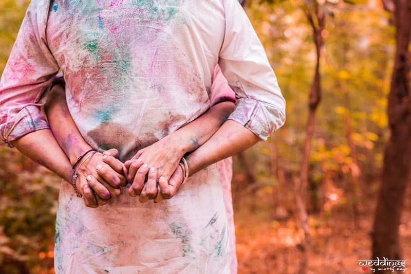 Holi Themed Pre-Wedding Shoot - An Affair with Colours!