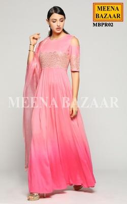 Meena Bazaar Rose Pink Shaded Anarkali Set
