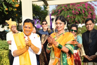 The couple is having a gala time at their haldi ceremony.