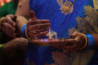 Silver pooja thaali for the wedding