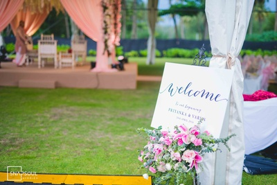 A beautiful floral signage at the wedding venue.