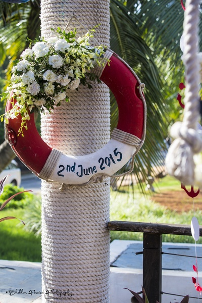 Life saver with carnations announcing wedding date