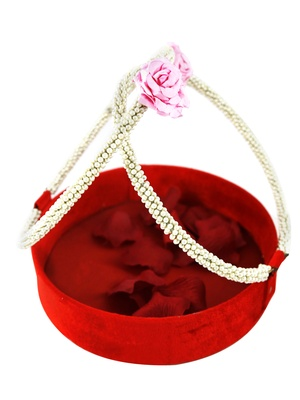 Red Pearl Handle Basket- Small