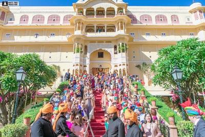 The grand royal baraat arrives at Samode palace, Jaipur.