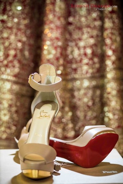 Bridal shoes by Louboutin .