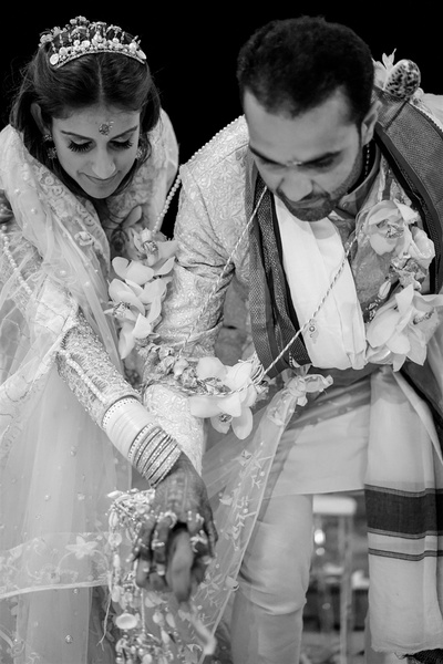 a candid capture of the couple during the wedding ceremony
