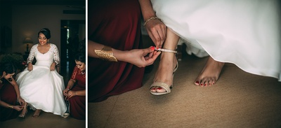 Gold strappy bridal sandals by Aldo adorned with red nail lacquer