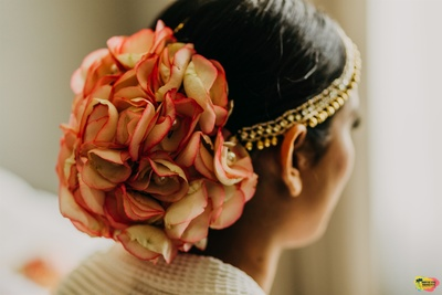 a full floral bun for the wedding day